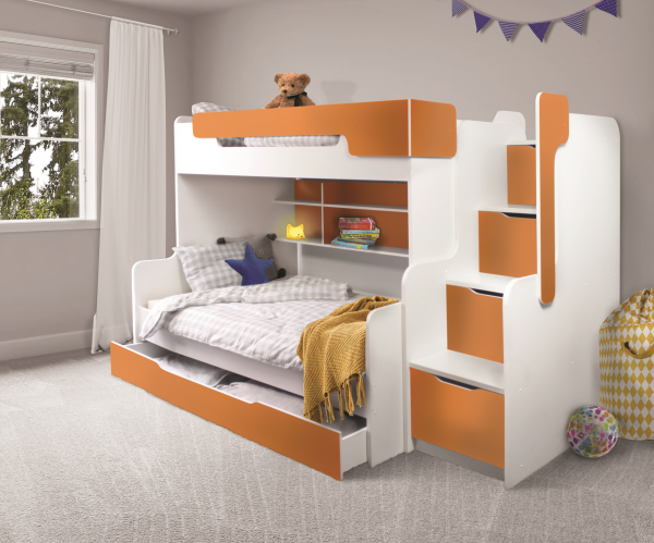 Etagenbett HARRY mit Stauraum-Treppen in orange