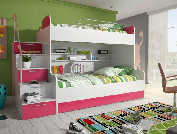 Etagenbett Kinderbett Rose mit seitlicher Treppe links