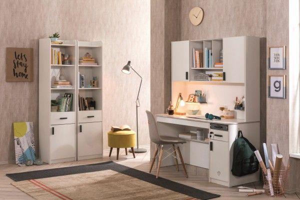 Schreibtisch WHITE, groß mit Aufsatz