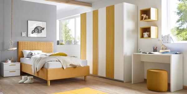 Schlafzimmer FRELI weiß/ gelb inkl. Schreibtisch