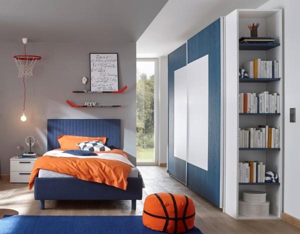 Schlafzimmer FRELI blau/ weiß, inkl. Regal