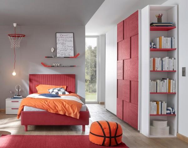 Schlafzimmer FRELI 3D rot/ weiß, inkl. Regal