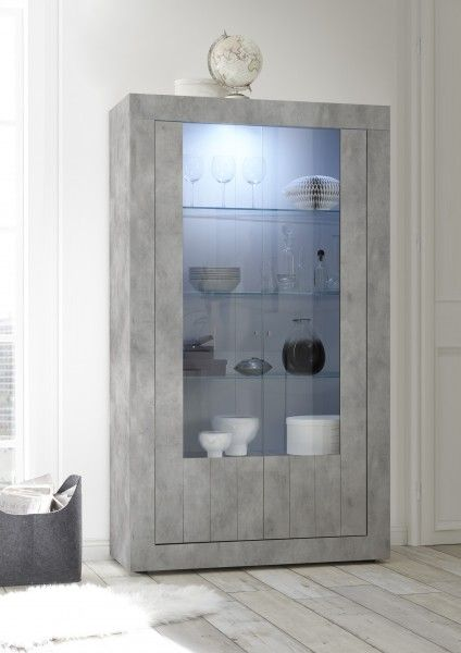 Vitrine LEONELLO mit LED, Beton-Optik