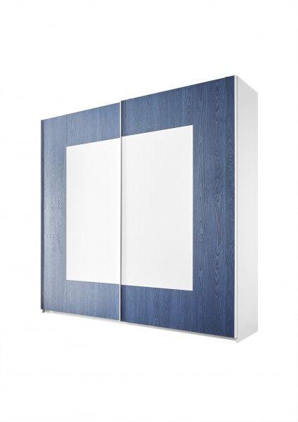 Schwebetürenschrank FRELI blau/ weiß