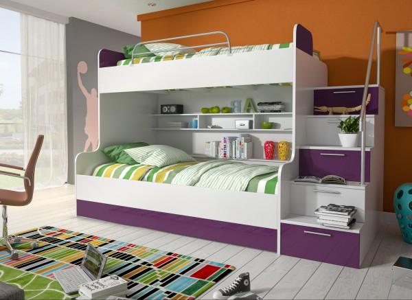 Etagenbett Kinderbett Lila mit seitlicher Treppe rechts