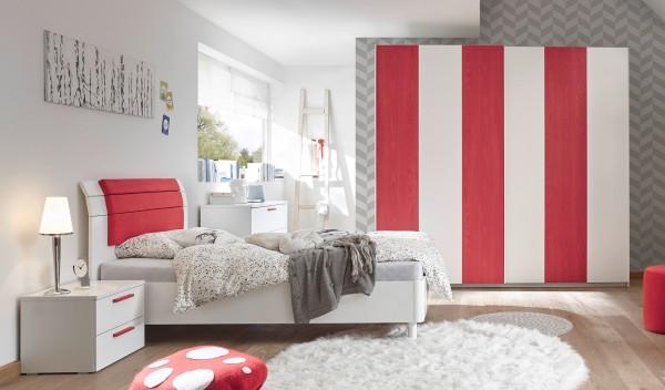 Schlafzimmer FRELI, Holzstruktur rot