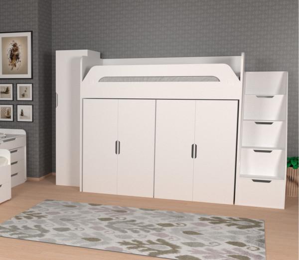 Hochbett WINDFALL mit 2 Kleiderschränken, 4 Farben