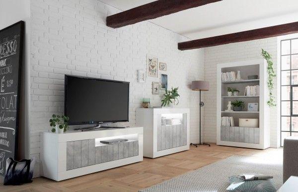 Wohnzimmer LEONELLO, Weiß-Beton-Optik