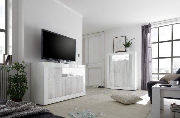 Wohnzimmer LEONELLO mit LED, Pinie Weiß