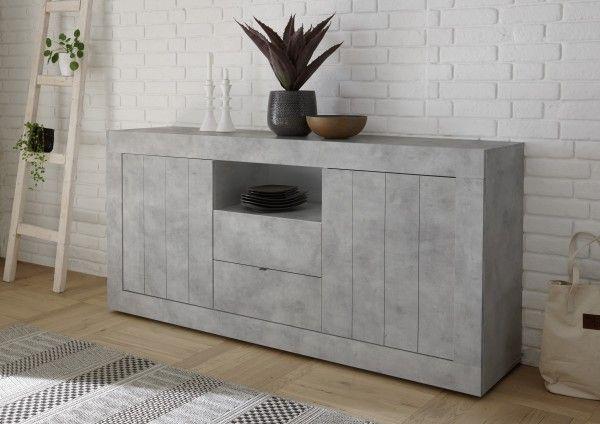 Sideboard LEONELLO mit Schubladen, Beton-Optik