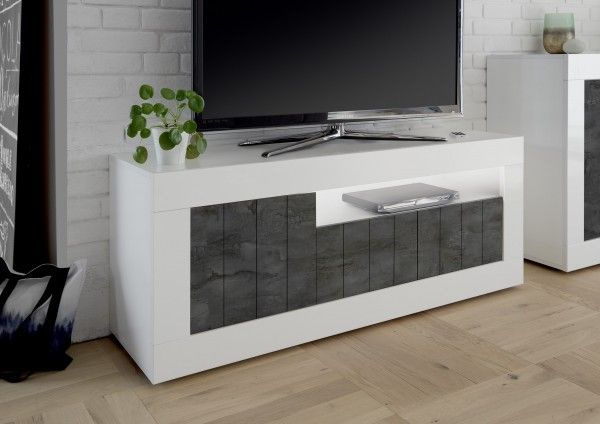 TV-Lowboard LEONELLO mit LED, Weiß-Ossido