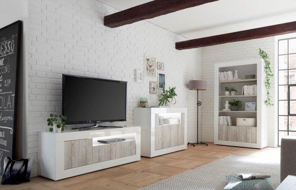 Wohnzimmer LEONELLO, Pinie Weiß