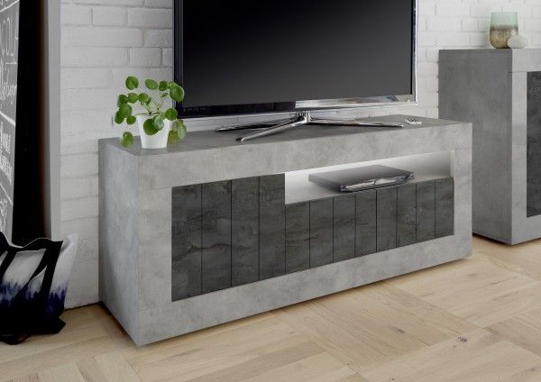 TV-Lowboard LEONELLO mit LED, Beton-Optik-Ossido