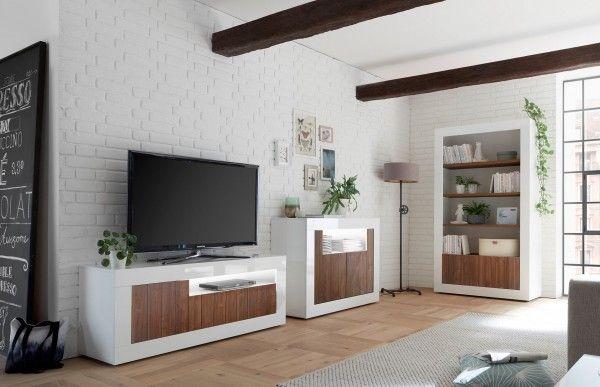 Wohnzimmer LEONELLO, Weiß-Nussbaum