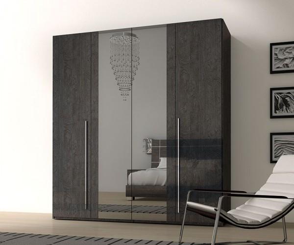 Kleiderschrank SARAH GREY BIRCH, italienische luxus Möbel, 4 -türgig mit Spiegel