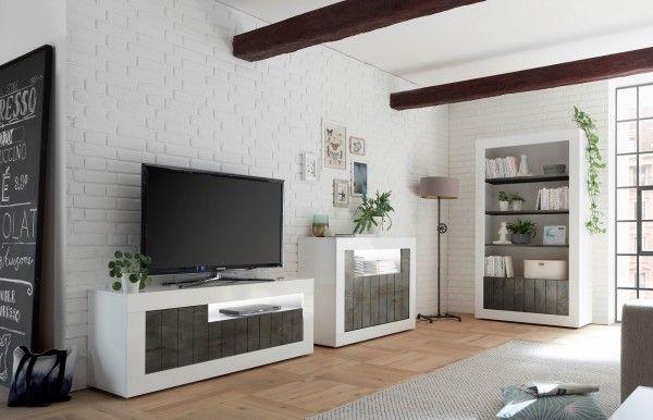 Wohnzimmer LEONELLO, Weiß-Ossido