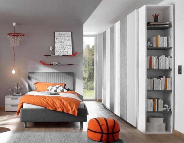 Schlafzimmer FRELI grau/ weiß, inkl. Regal