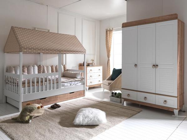 Kinderzimmer SAVANA mit Hausbett und Gästebett