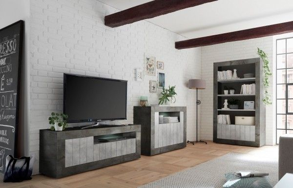 Wohnzimmer LEONELLO mit LED, Ossido-Beton-Optik