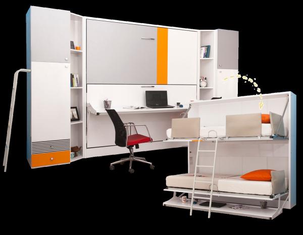 Multimo DIVA BUNK Etagenbett-Set mit Schreibtisch, 90x190 cm