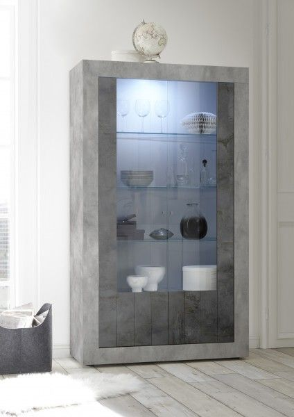 Vitrine LEONELLO mit LED, Beton-Optik-Ossido