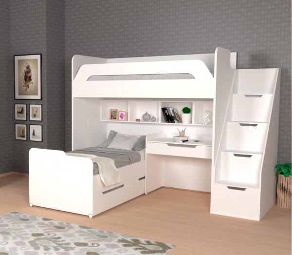 Etagenbett WINDFALL mit kleinem Schreibtisch, 4 Farben