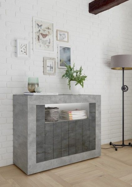 Sideboard LEONELLO mit LED, Beton-Optik-Ossido