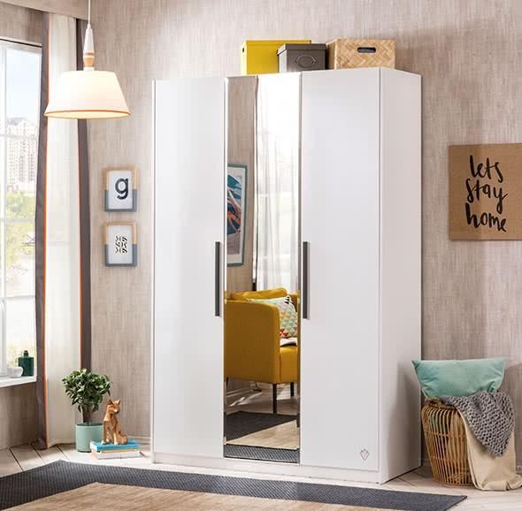 Cilek WHITE Kleiderschrank mit Spiegel