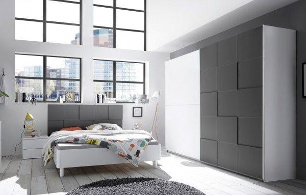 Schlafzimmer LEVANTI mit 3D-Optik, weiß-anthrazit