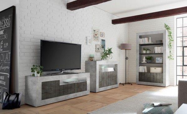 Wohnzimmer LEONELLO mit LED, Beton-Optik-Ossido