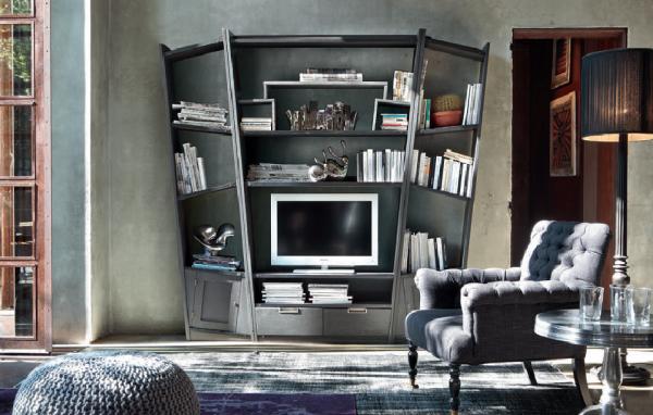 Wohnwand aus Eiche UNIKA, Handarbeit, italienisches Design