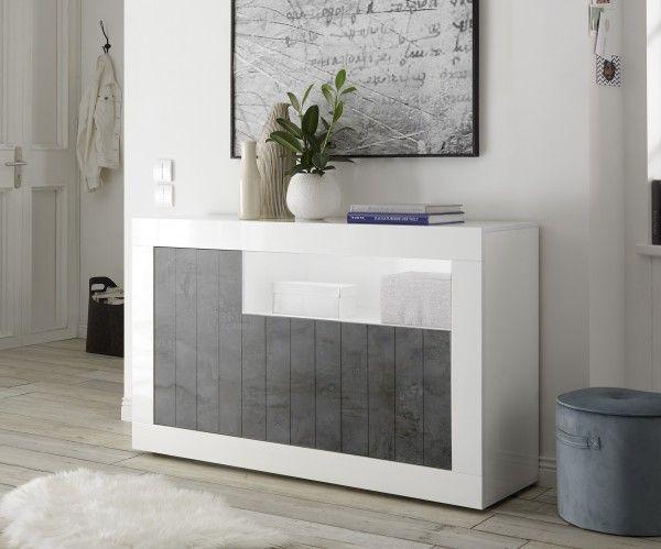 Sideboard/ TV-Möbel LEONELLO, Weiß-Ossido