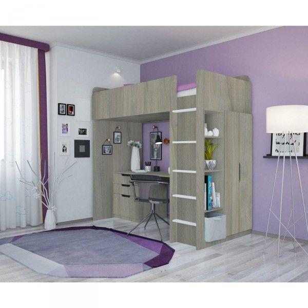 Hochbettset ATLANTA (II) mit Kleiderschrank und Schreibtisch, 4 Farben