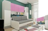 Multimo TWIN SET, 2 Betten mit Schreibtisch und Schränke
