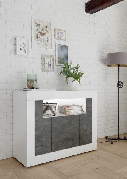 Sideboard LEONELLO mit LED, Weiß-Ossido