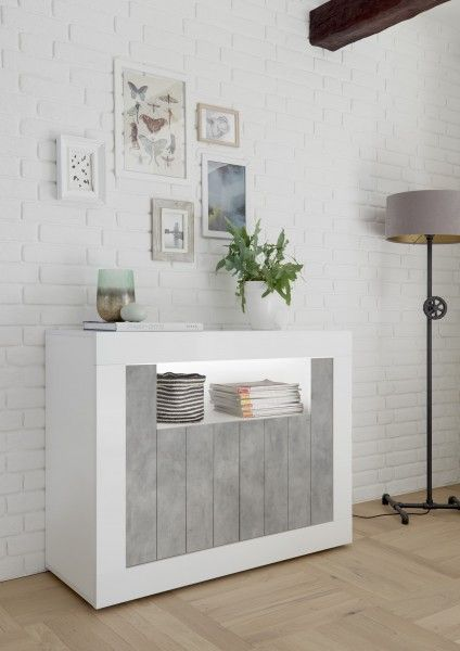 Sideboard LEONELLO mit LED, Weiss-Beton-Optik