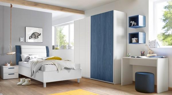 Schlafzimmer FRELI blau/ weiß inkl. Schreibtisch