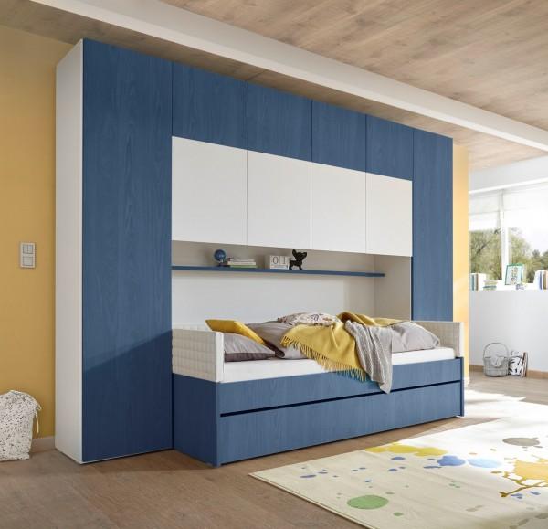 Bettbrücke inkl. Bett FRELI blau/ weiß