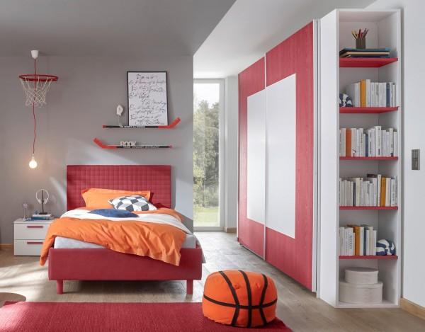 Schlafzimmer FRELI rot/ weiß, inkl. Regal