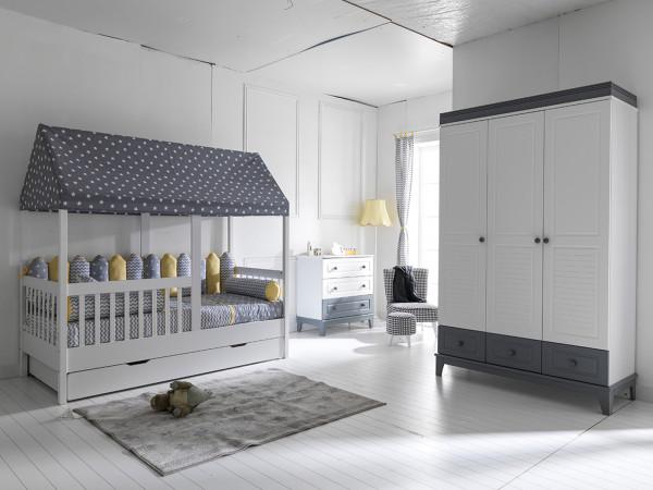 Kinderzimmer MAYA mit Hausbett und Gästebett