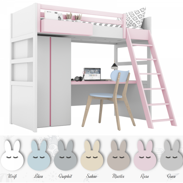 Hochbett mit Schrank und Schreibtisch SIMONE, 90x200cm