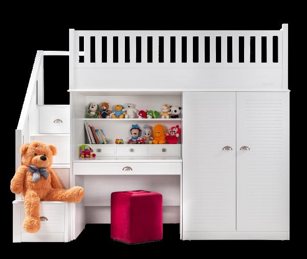 Hochbett TEDDY mit Kleiderschrank und Schreibtisch