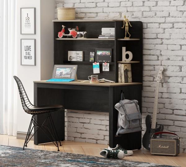 Cilek LINE Schreibtisch mit Aufsatz, schwarz