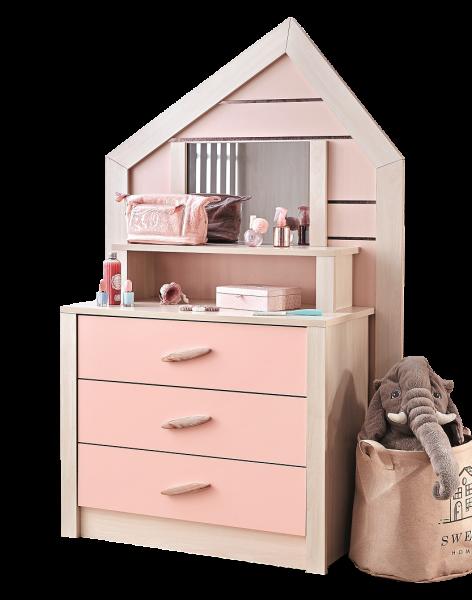 Kinderkommode PINK HOUSE mit Spiegel