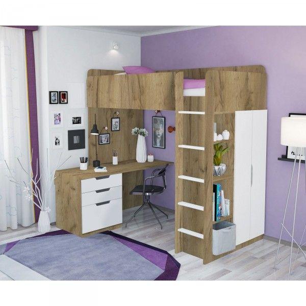 Hochbett ATLANTA mit Kleiderschrank und Schreibtisch, 4 Farben