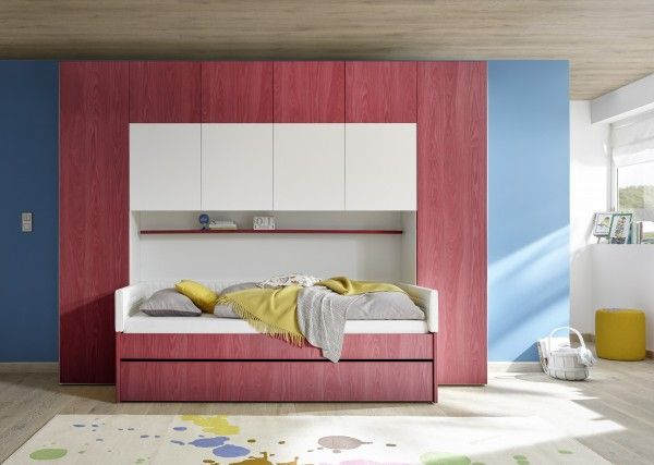 Bettbrücke inkl. Bett FRELI rot/ weiß
