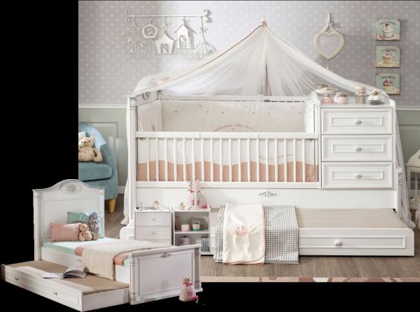 Cilek ROMANTIC Babybett mitwachsend, 80x130-180 cm