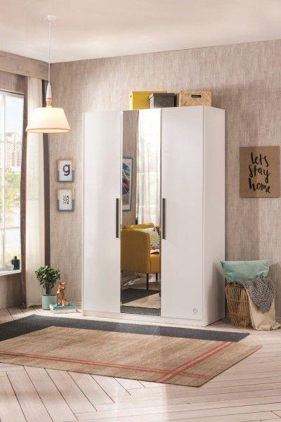 Kleiderschrank mit Spiegel WHITE, 3-trg.