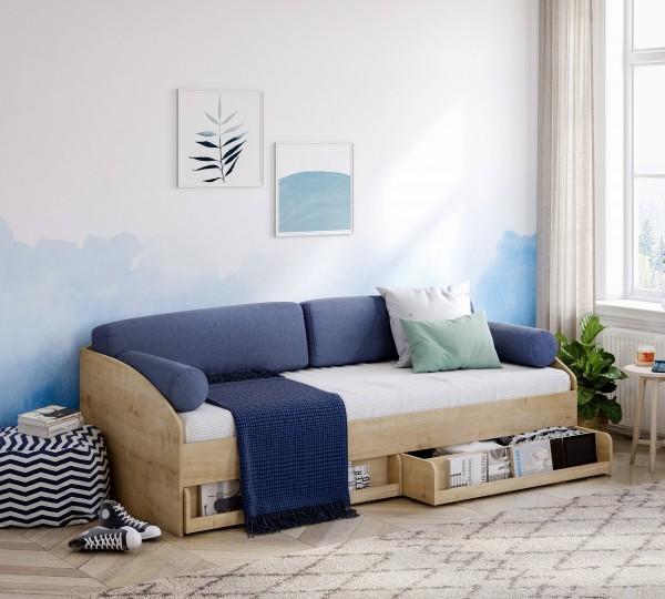 Cilek LINE Sofabett mit Bettkasten, 90x200 cm - mocha
