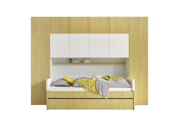 Bettbrücke inkl. Bett FRELI gelb/ weiß